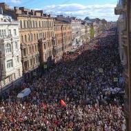 Pohled na pochod Nesmertelného pluku v Petrohradě 9.5.2019