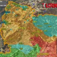 Mapa, kde vede turecká armáda ofenzivu v Sýrii proti Kurdům