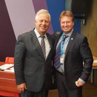 Poslanec za KSČM Jiří Valenta s předsedou KS Ukrajiny Petrem Simoněnko nedávno ve Štrasburku