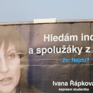 Turbostudentka, primátorka Chomutova za ODS Řábková na billboardu